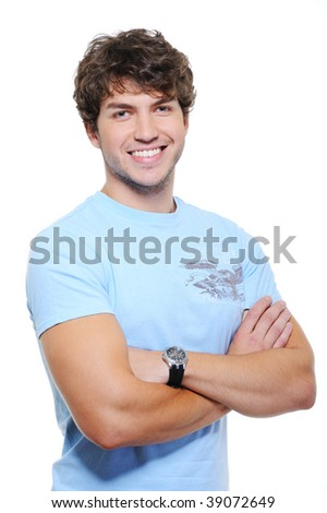 Happy portrait of glad laughing young handsome guy - stock photo