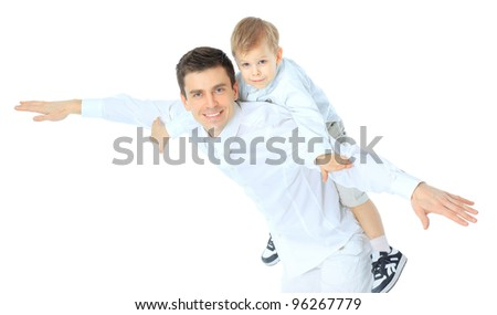 Happy portrait of the father and son - stock photo
