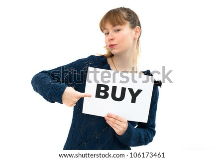 happy portrait young woman with board buy