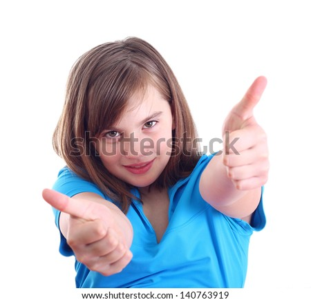Happy positive girl show thumb up, isolated on white background. - stock photo