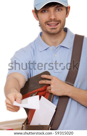 happy postal worker with letters on white background - stock photo