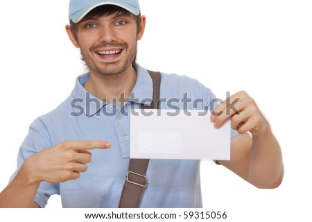 happy postman showing mail on white background - stock photo