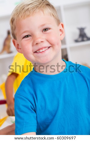 happy preschool boy - stock photo