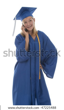Happy pretty girl graduate in gown talking on mobile phone