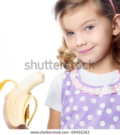 happy pretty girl with banana  on white background - stock photo