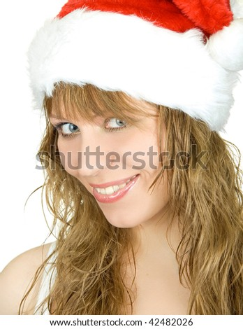 Happy pretty santa festive woman isolated on white background