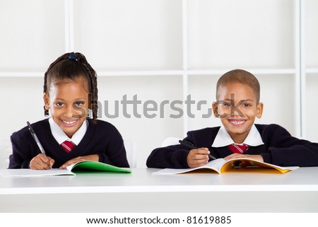 happy primary students portrait - stock photo