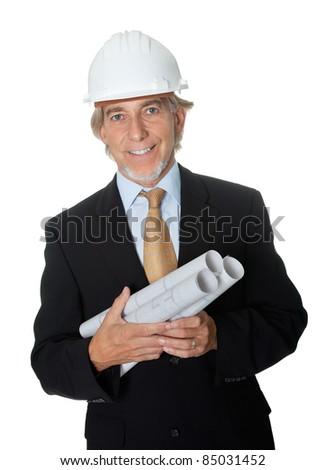Happy professional architect holding blueprints on white background - stock photo