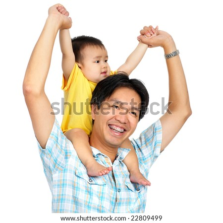 Happy proud father and smiling  innocent baby. Isolated over white background