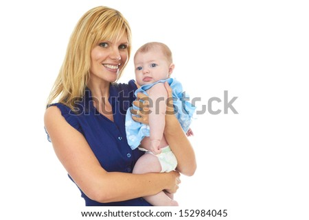 Happy proud young mother with baby girl isolated on white background - stock photo