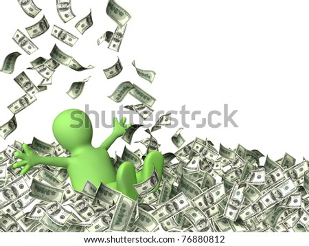 Happy puppet and a money rain. Isolated over white - stock photo