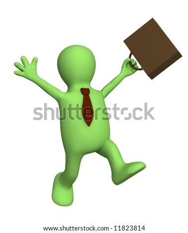 Happy puppet - businessman with a portfolio. Objects over white