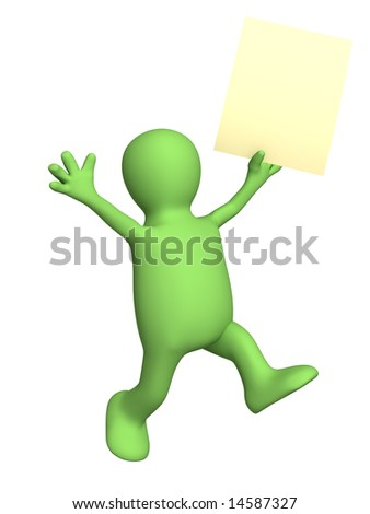 Happy puppet with sheet of paper in hand