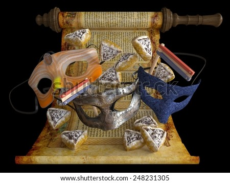 happy purim holiday, jewish traditional holiday - stock photo