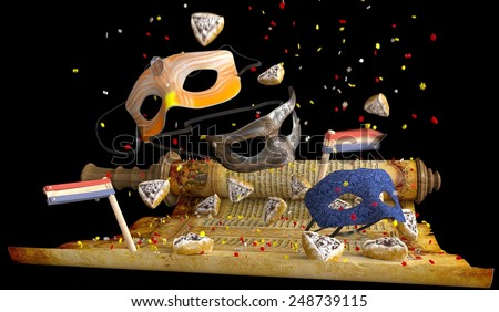 happy purim holiday, jewish traditional holiday background - stock photo