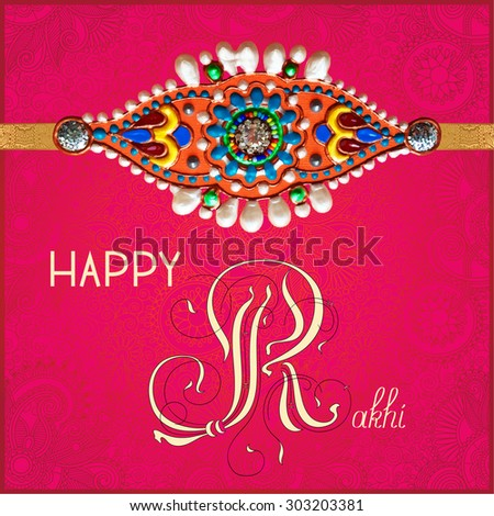 Happy rakhi greeting card indian holiday stock illustration happy rakhi greeting card for indian holiday raksha bandhan with original handmade bangle with gold and m4hsunfo