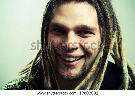 Happy rastaman. - stock photo