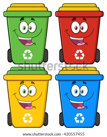 Happy Recycle Bin Cartoon Characters. Set Raster Collection Isolated On White - stock photo