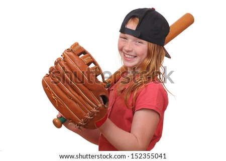 Happy red haired baseball girl on white background - stock photo