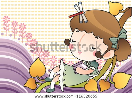 Happy Relaxing Time : reading a book with a lovely cute young girl and a red dragonfly in romantic garden on a bright yellow background : vector illustration - stock photo
