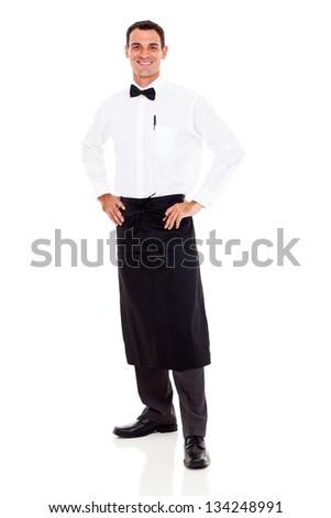 happy restaurant waiter full length portrait on white - stock photo