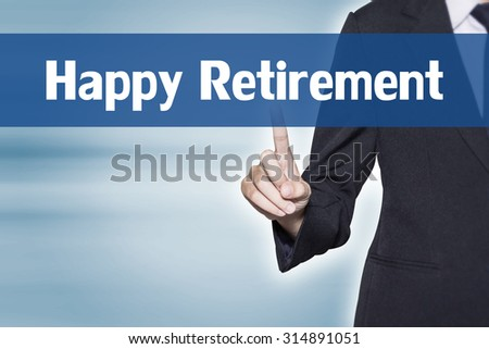 Happy Retirement Business woman pointing at word for business background concept - stock photo