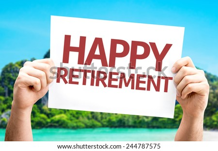 Happy Retirement card with a beach on background - stock photo