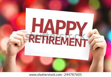 Happy Retirement card with colorful background with defocused lights - stock photo