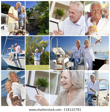 Happy retirement senior men and women couples active lifestyle on a romantic vacation together in summer sunshine sailing, using tablet computer and cooking on barbecue - stock photo