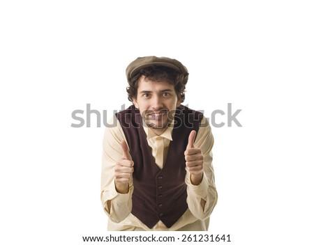 Happy Retro Man Smiling Portrait. - stock photo