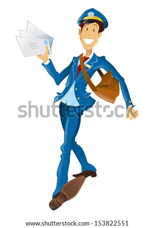 Happy retro style Post Man delivering mail. - stock photo