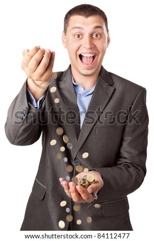 happy rich businessman pouring coins isolated on white background - stock photo