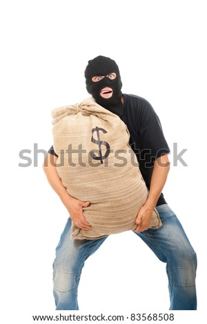 Happy robber with sack full of dollars isolated on white - stock photo