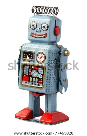 Happy robot standing against white background