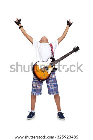 happy rocker boy with guitar on a white background - stock photo
