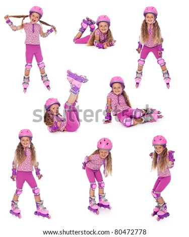 Happy roller skater girl collage, isolated - stock photo