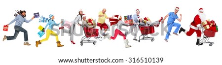 Happy running Christmas people isolated white background - stock photo