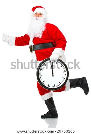 Happy running Christmas Santa. Isolated over white background - stock photo