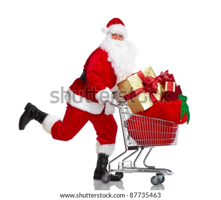 Happy running Santa Claus with a shopping cart. Christmas. Isolated on white background. - stock photo