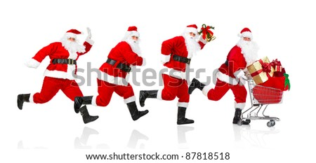 Happy running Santa Claus with gifts. Christmas. Isolated on white background. - stock photo