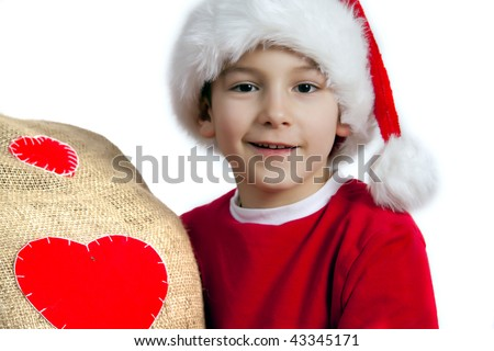 Happy santa boy - stock photo