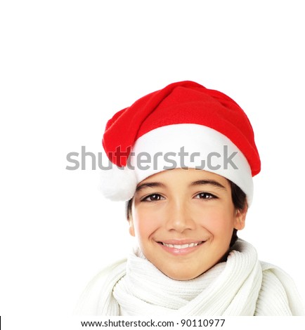 Happy Santa boy smiling, portrait of a cute teen face isolated on white background, kid wearing red Christmas hat, winter holidays celebration - stock photo