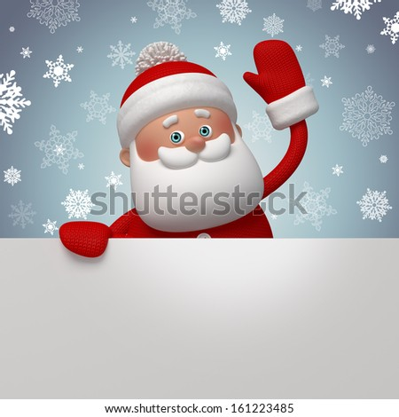 happy Santa Claus holding blank banner, 3d character, winter background - stock photo