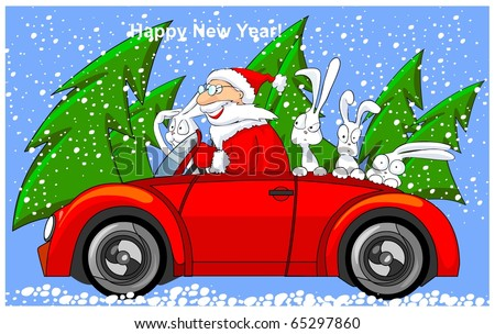 Happy Santa Claus is riding on cabriolet with funny hares. - stock photo