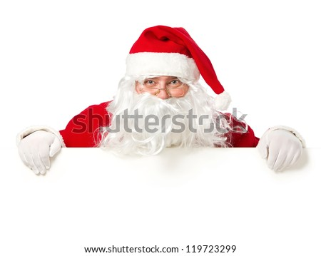 Happy Santa Claus looking out from behind the blank sign isolated on white background with copy space - stock photo