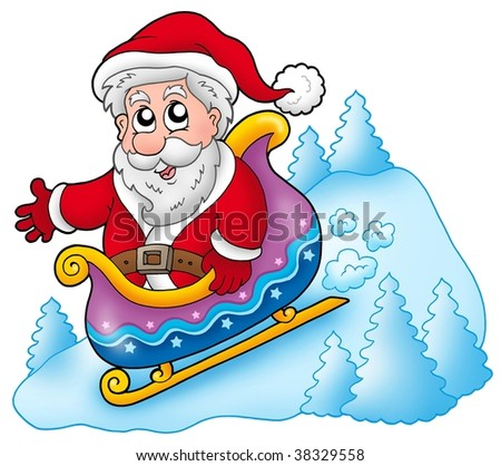 Happy Santa Claus on sledge - color illustration.