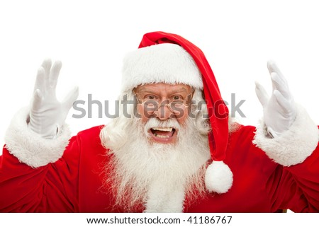 Happy Santa Claus portrait excited isolated on white