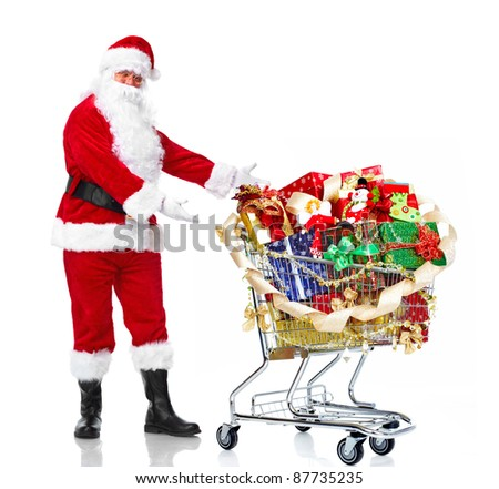 Happy Santa Claus with a shopping cart. Christmas. Isolated on white background. - stock photo