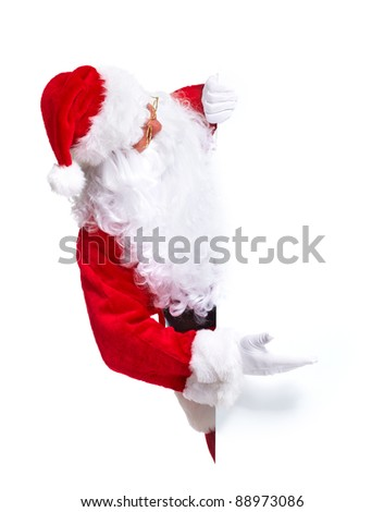 Happy Santa Claus with christmas poster banner.  Isolated on white background. - stock photo