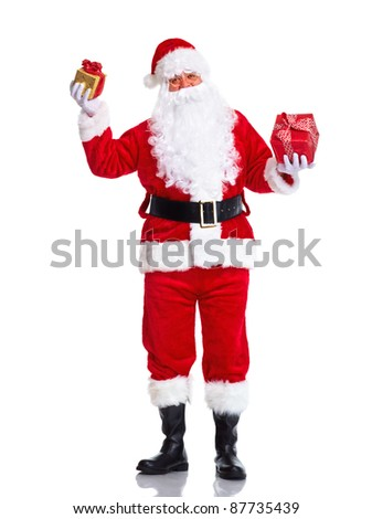 Happy Santa Claus with gift present. Christmas. Isolated on white background. - stock photo